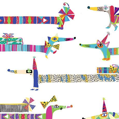 Party Animals - Party Dogs on White by Quilting Treasures