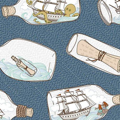 In Deep Ship - Ships in Bottles on Ocean by Alicia Jacobs Dujets for Ink & Arrow