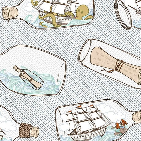 In Deep Ship - Ships in Bottles on White by Alicia Jacobs Dujets for Ink & Arrow