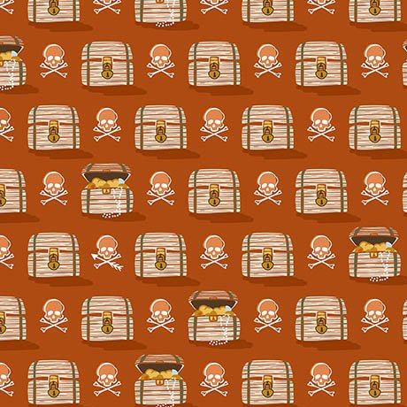 In Deep Ship - Treasure Chests & Skulls on Burnt Orange by Alicia Jacobs Dujets for Ink & Arrow
