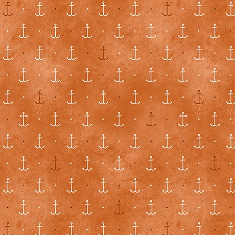 In Deep Ship - Anchors on Orange by Alicia Jacobs Dujets for Ink & Arrow