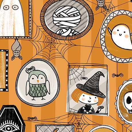 Boos & Ghouls - Halloween Characters on Orange by Alicia Jacobs Dujets for Ink & Arrow