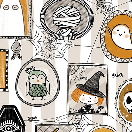 Boos & Ghouls - Halloween Characters on White by Alicia Jacobs Dujets for Ink & Arrow