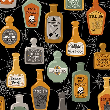 Boos & Ghouls - Potions & Spells on Black by Alicia Jacobs Dujets for Ink & Arrow