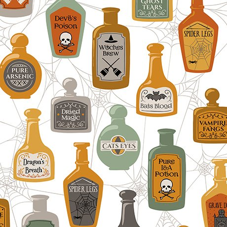 Boos & Ghouls - Potions & Spells on White by Alicia Jacobs Dujets for Ink & Arrow