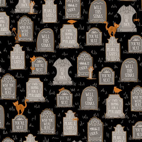 Boos & Ghouls - Gravestones on Black by Alicia Jacobs Dujets for Ink & Arrow