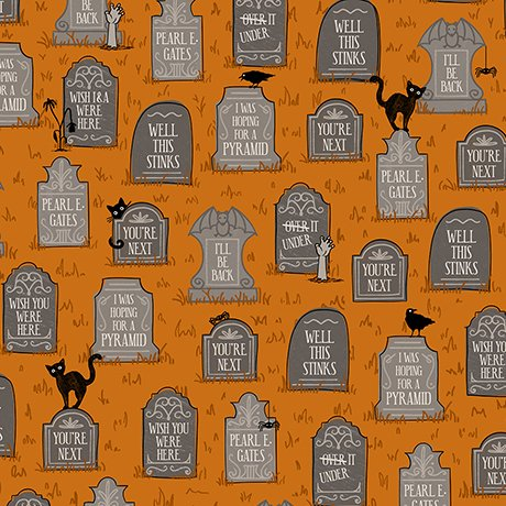 Boos & Ghouls - Gravestones on Burnt Orange by Alicia Jacobs Dujets for Ink & Arrow