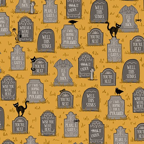 Boos & Ghouls - Gravestones on Gold by Alicia Jacobs Dujets for Ink & Arrow
