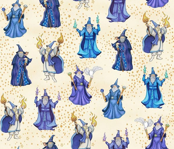 Spellbound - Wizards on Light Cream by Dan Morris for Quilting Treasures