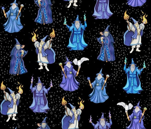 Spellbound - Wizards on Black by Dan Morris for Quilting Treasures