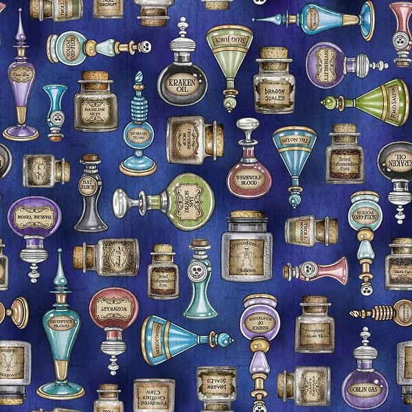 Spellbound - Potions on Dark Blue by Dan Morris for Quilting Treasures