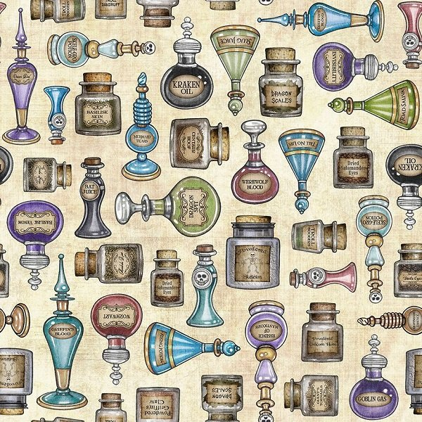 Spellbound - Potions on Cream by Dan Morris for Quilting Treasures