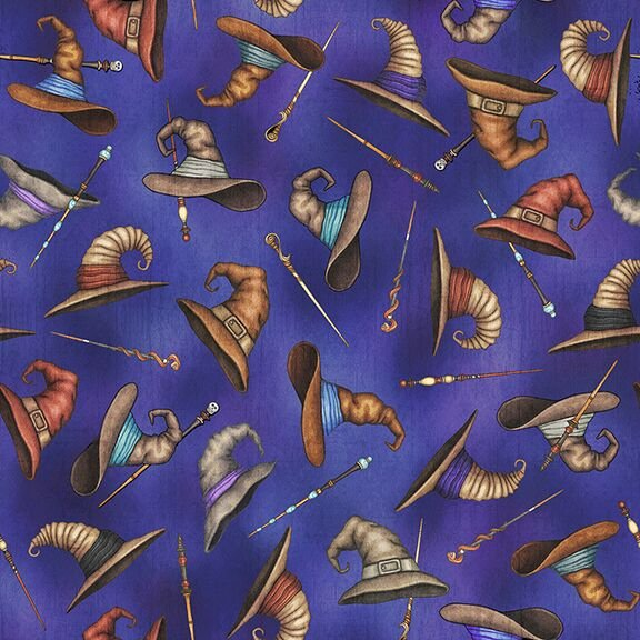 Spellbound - Wizards Hats & Wands on Medium Blue by Dan Morris for Quilting Treasures