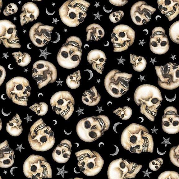Spellbound - Skulls on Black by Dan Morris for Quilting Treasures