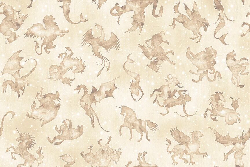 Spellbound - Mystical Beasts on Cream by Dan Morris for Quilting Treasures