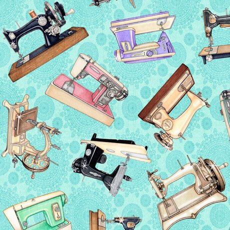 Tailor Made - Sewing Machines on Light Aqua by Dan Morris for QT Fabrics