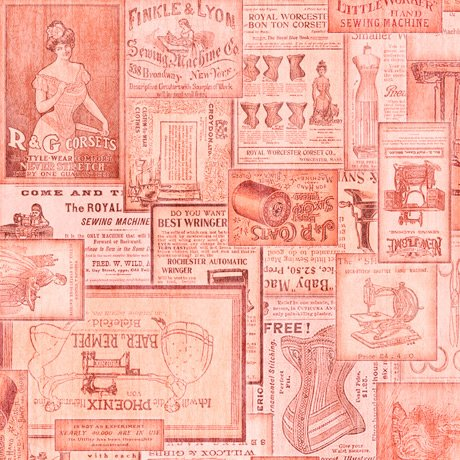 Tailor Made - Vintage Patches in Coral by Dan Morris for QT Fabrics