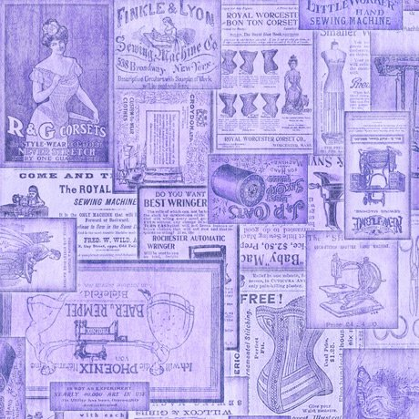 Tailor Made - Vintage Patches in Lilac by Dan Morris for QT Fabrics