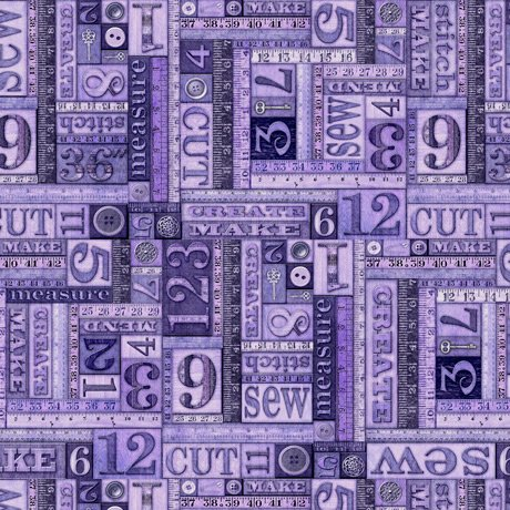 Tailor Made - Numbers Patch in Purple by Dan Morris for QT Fabrics