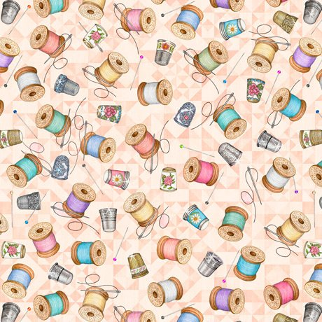 Tailor Made - Thimbles & Spools on Light Coral by Dan Morris for QT Fabrics