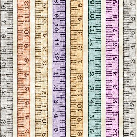 Tailor Made - Tape Measure Stripe on Cream by Dan Morris for QT Fabrics