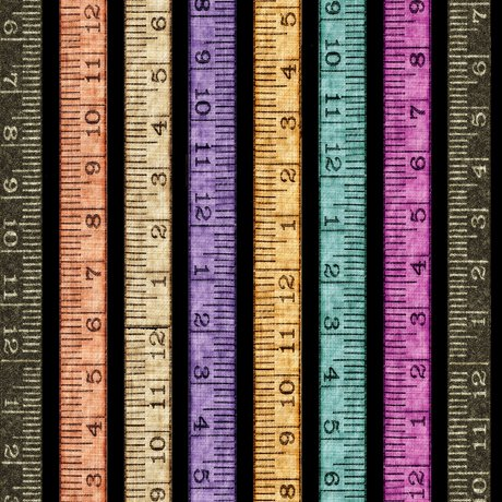 Tailor Made - Tape Measure Stripe on Black by Dan Morris for QT Fabrics