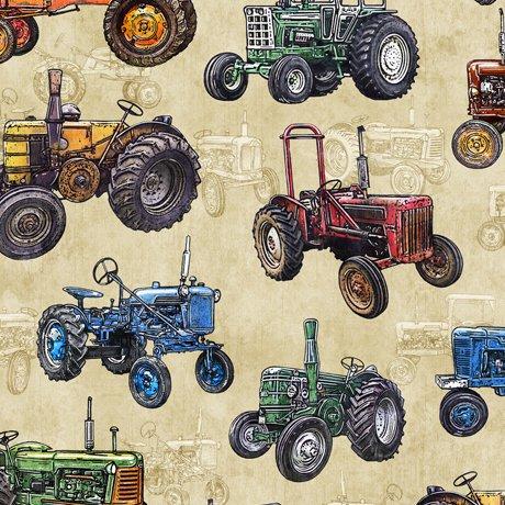 Sunrise Farms - Tractor Toss on Dark Cream by Dan Morris for QT Fabrics