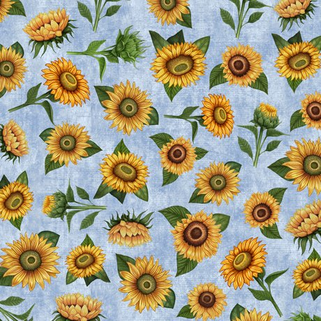Sunrise Farms - Sunflower Toss on Blue by Dan Morris for QT Fabrics