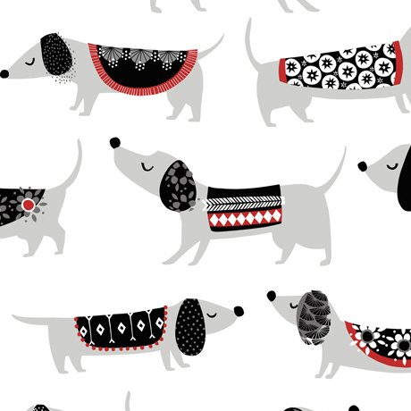 Hot Diggity Dogs - Hot Dogs on White by Ink & Arrow for Quilting Treasures
