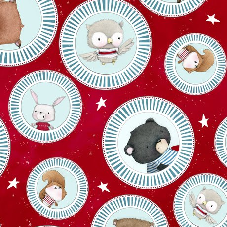 Campfire Friends - Animal Medallions on Red by Stacey Yacula for QT Fabrics