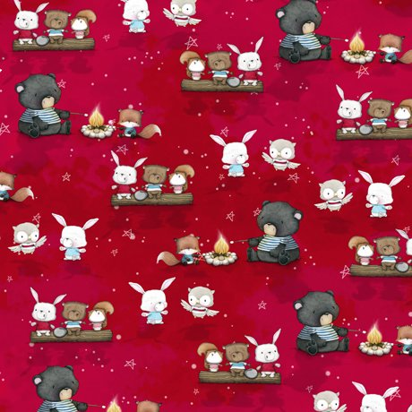 Campfire Friends - Animal Toss on Red by Stacey Yacula for QT Fabrics