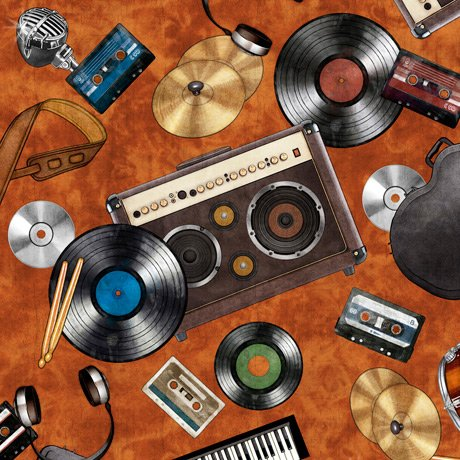 Good Vibrations - Rock & Roll Toss on Rust by Dan Morris for Quilting Treasures