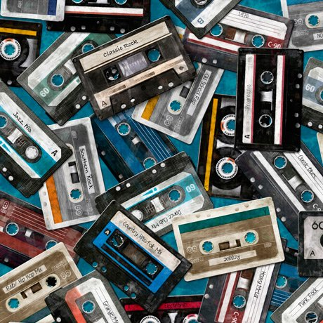 Good Vibrations - Cassettes on Teal by Dan Morris for Quilting Treasures