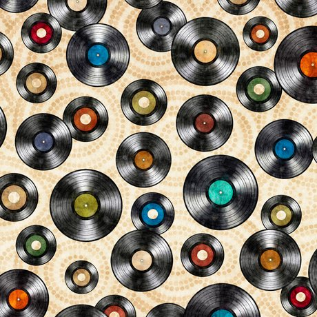 Good Vibrations - Vinyl Records on Cream by Dan Morris for Quilting Treasures
