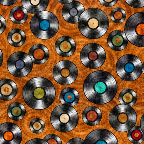 Good Vibrations - Vinyl Records on Rust by Dan Morris for Quilting Treasures