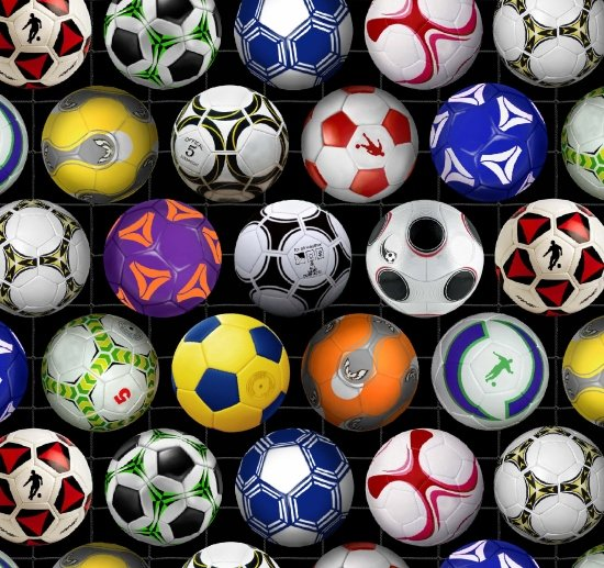 Sports Collection - Assorted Soccer Balls on Black by Elizabeth's Studio