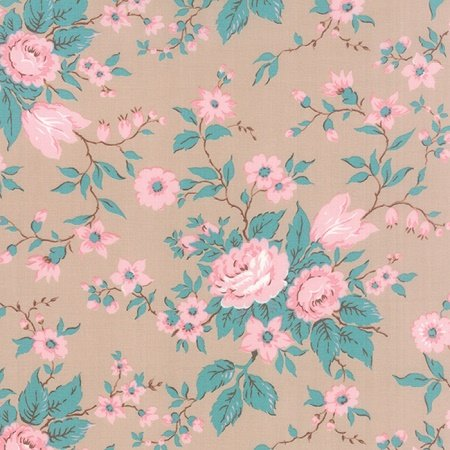 Kindred Spirits - Antique Floral on Taupe by Bunny Hill Designs for Moda