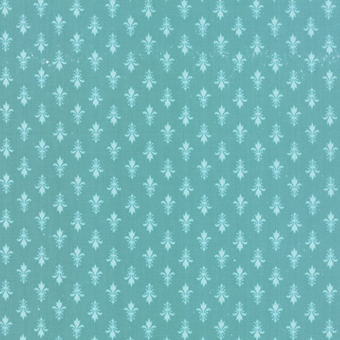 Kindred Spirits - Fleur De Lis on Teal by Bunny Hill Designs for Moda