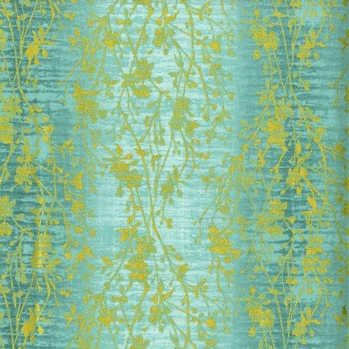 Shiny Objects Holiday Twinkle - Velvety Vines in Seafoam by Flaurie & Finch for RJR Fabrics