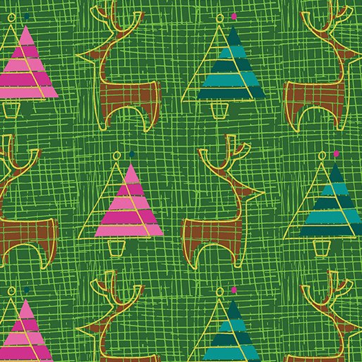 Merry Little Christmas - Reindeer on Green by Holly Helgeson for Benartex