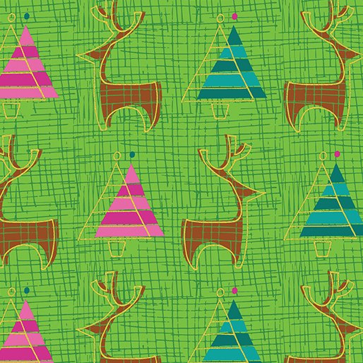 Merry Little Christmas - Reindeer on Lime by Holly Helgeson for Benartex