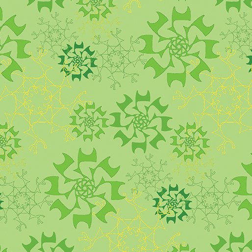 Merry Little Christmas - Snowflake on Lime by Holly Helgeson for Benartex