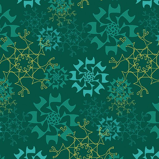 Merry Little Christmas - Snowflake on Teal by Holly Helgeson for Benartex