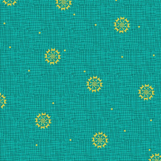 Merry Little Christmas - Christmas Star on Turquoise by Holly Helgeson for Benartex