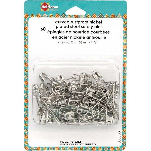 Safety Pins - Curved Rustproof Nickel Coated Steel 1.5 (60 count) by Heirloom