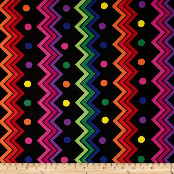 Jungle Things - Zig Zag Dots in Multi on Black by Sue Marsh for RJR Fabrics