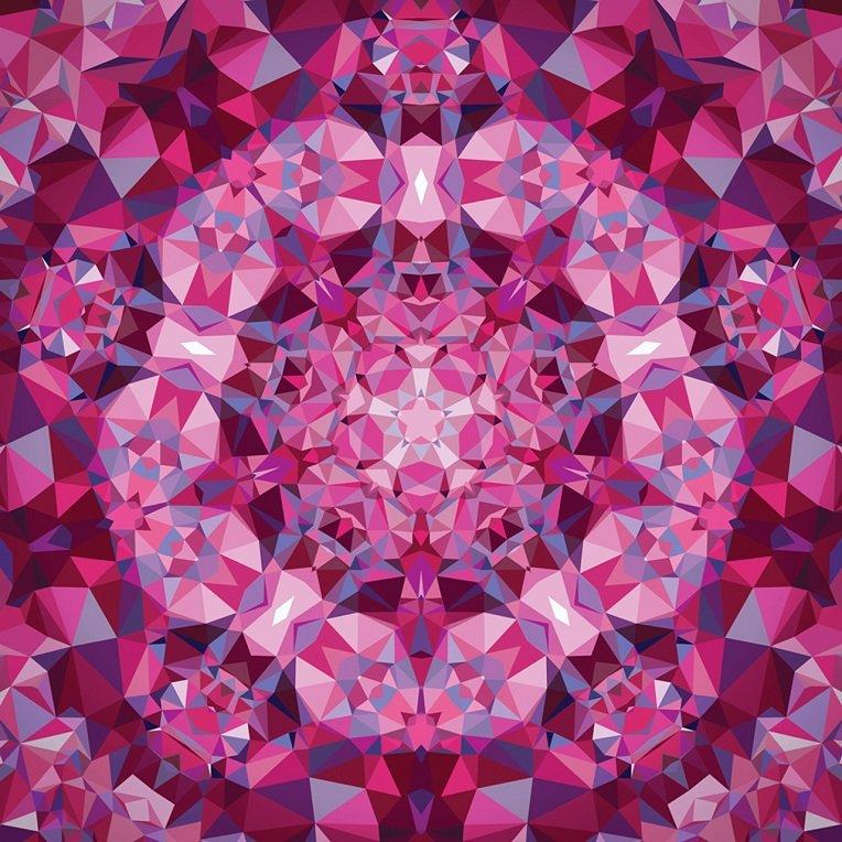 Panel - Gradients Kaleidoscope in Pink (60 x 60 Digital Panel) by Moda