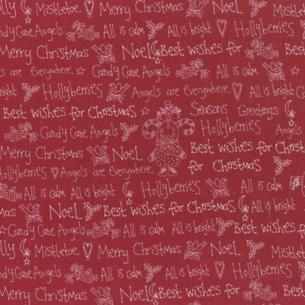 Candy Cane Angels - Christmas Words in Red by Lynette Anderson for RJR Fabrics