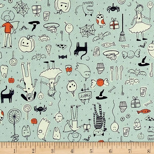 Lil Monsters - Party in Mint by Sarah Watts for Cotton + Steel