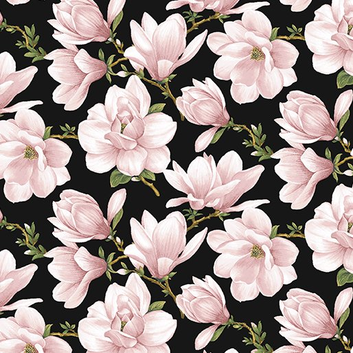 Accent on Magnolias - Magnolia Blooms Allover in Coral on Black by Jackie Robinson for Benartex